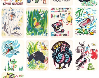 "Rare! K. Chukovsky Children's Poem ""Bibigon"", Drawings by M. Miturich. Complete Set of 12 Postcards in original cover -- 1973"