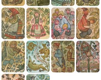 Belarusian Folk Tales, Drawings by N. Poplavskaya. Complete Set of 13 Vintage Prints, Postcards in original cover -- 1975