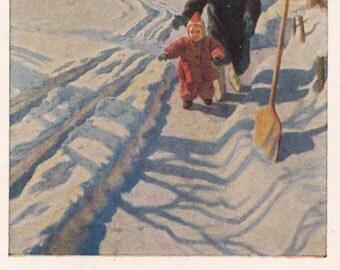 "B. Nikolaev ""First time on snow"" Postcard -- 1954"