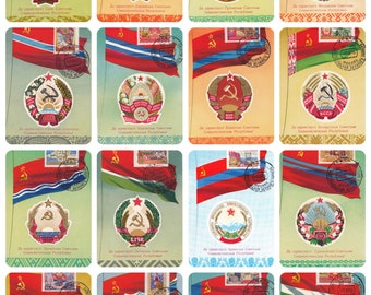 Unique! Emblems and Flags of Soviet Republics, Drawings by V. Viktorov. Complete Set of 16 Postcards w/Stamps (Carte Maximum) -- 1956