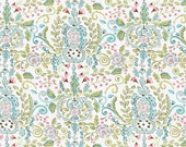Love Bird damask Leanika Maison Jardin cotton fabric by the yard ivory DF66 - Dena Designs