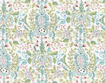 Cotton fabric by the yard - Love Bird damask Leanika Maison Jardin ivory DF66 by the yard - Dena Designs