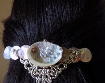 Barrette Extra Large for Thick Hair/ Abalone shell