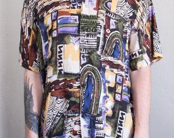 abstract art shirt - M