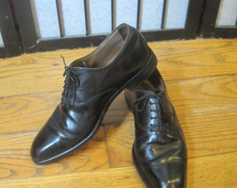 Vintage Giorgio Armani Mens Black Leather Dress Shoe 41 USA 8 Tie Sleek Italian Made in Italy