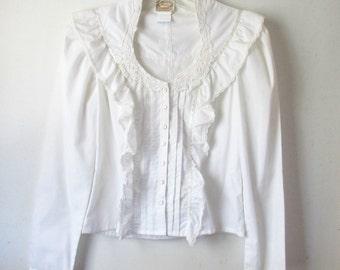 Vintage White Blouse by Jessica's Gunnies 1970s Floral Applique Romantic Edwardian Victorian Style Shirt 34 Bust M Medium Deadstock NOS