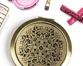 Refined Elegance Compact Mirror, Black and Gold Floral Design Pocket Mirror, Victorian Style Purse Mirror, Bridesmaid Gift
