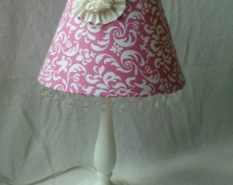 Pink and White Damask Lamp Shade with Flower