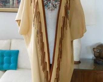 Long Deerskin Leather Vest Southwestern Fringe Woman's Duster Western Style with Sterling Silver Turquoise OOAK Long Over coat