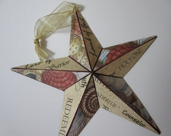 Medium Barn Star with Names of Jesus - Beachy Shells and Driftwood WORD Art - 8 inches
