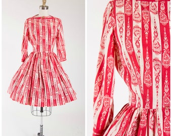 Vintage 1960s Dress • Inviting Jig • Striped Red Paisley Print Cotton 60s Vintage Day Dress Size Small