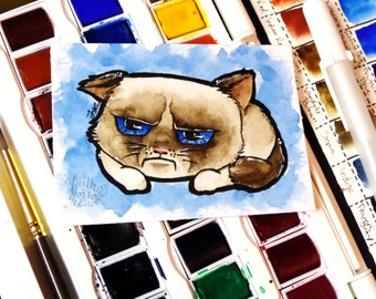 ACEO sized ORIGINAL Artwork - Grumpy Cat