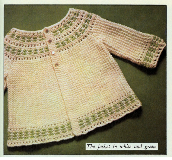 Knitting Pattern Chest Sizes : Instant Download PDF Easy Knitting Pattern to make a Ribbon Threaded Baby Coa...