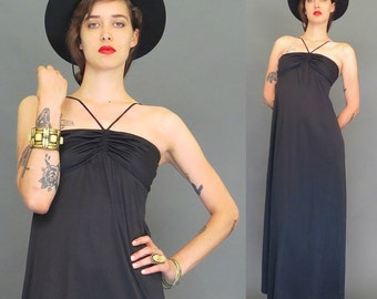 vintage 70s black disco maxi dress // boho // hippie // sundress // gypsy