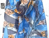 Hand painted Silk Scarf, Gift for her, ETSY, Blue Silk Scarf, Blue Lagoon Vines Scarf, Chiffon Scarf, Silk Scarves Takuyo, 11x60 inches