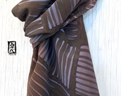 Silk Scarf Men, Mens Gift, Gift for men, Hand Painted Silk, Brown Japanese Zen Temple Pavestone Scarf, Silk Scarves Takuyo, 14x72 inches..