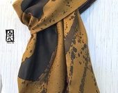 Mens Gift, Reversible Large Mens Scarf Silk Handpainted, Gift for men, Elements, Earth Scarf, Mens Winter Silk scarf Brown, 14x72 inches.