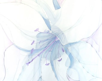 Hand Painted Silk Shawl, ETSY, Wedding Shawl, White Lilies Scarf, Pastel Pink and Blue, White Scarf, Chiffon Scarf, Takuyo, 22x90 inches.