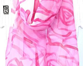 Silk Summer Scarf, Pink Scarf Bohemian, Boho Scarf Fashion, Handpainted Scarf, Pink Roses Silk Scarf, Chiffon Spring Scarf, 11x60 inches