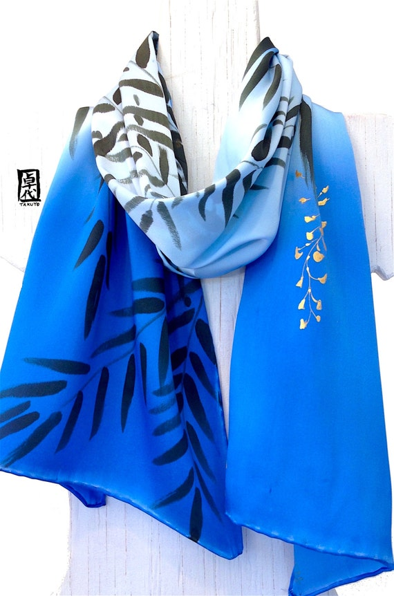 Silk Scarf Hand Painted, Blue and Gold Scarf, Etsy, Blue and Black Wisteria Ombre Scarf, Silk Scarves Takuyo, Silk Charmeuse, 15x60 inches.