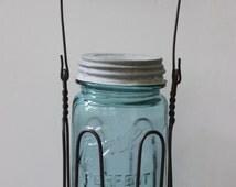 Ball Mason Jar / Wire canning jar holder / Zinc Lid / Canning Jar wire holder / Blue Jar