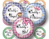 "DADDY'S GIRL Bottle Cap Images Digital Collage Sheet 1"" Circles  Instant Download, Princess, Angel, Hair Bows, Pendants, Scrapbooking  HS-1"