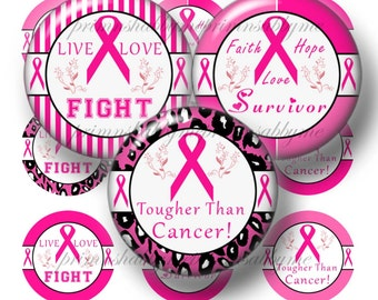 Breast Cancer Awareness, Bottle Cap Images, 1 Inch Circles, Digital Collage Sheet, Printable, Collage Art Sheet, Pendant Images, No.2