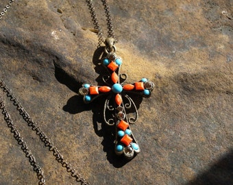 Vintage Turquoise and Coral Cross Pendant