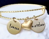 Expandable Gold Brass Name Bracelet - Personalized Jewelry - Gift for Mom - Heart Charm Bracelet - Alex and Ani Style