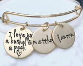 Expandable Gold Brass I Love You A Bushel and a Peck Bracelet - Personalized Jewelry - Gift for Mom - Name Bracelet