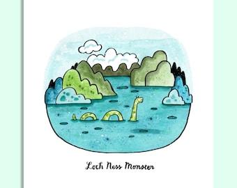 Loch Ness Monster- Art Print 5x7, 8x10, 11x14 Legends, Myths
