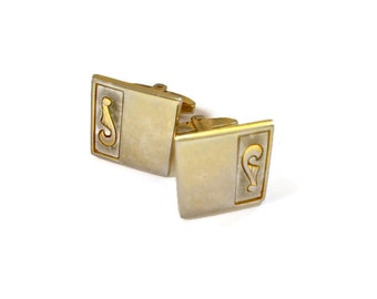 Vintage Foster Cuff Links Gold Tone Art Deco Style 1950s