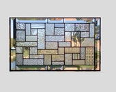 Clear stained glass panel window geometric abstract stained glass window panel window hanging home decor 0077