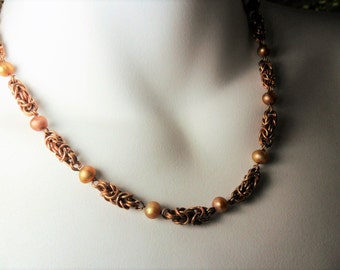 Chain maille Necklace- Byzentine Pattern- Bronze Wire- Embellished With Fresh Water Pearls