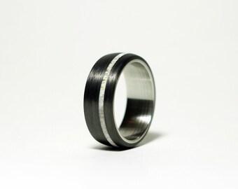 Antler, Carbon Fiber and Steel Ring - Offset Stripe