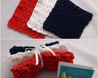 Crochet Dishcloth Gift Set – Includes Gift Card – Basket Weave - Red White and Blue
