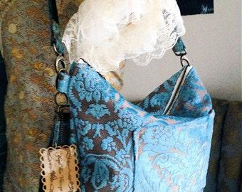 Carpet bag Camera bag Diaper bag with adjustable shoulder strap in Blue & Beige Damask Cut Velvet Fabric Ready To Ship