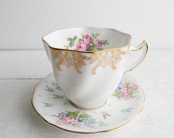 Vintage Bone China Floral Mismatched Tea Cup & Saucer - Royal Taunton Rose Teacup and Royal Stafford Plate