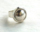 Adjustable Mexican Ring Sterling Silver Size 7 Modern Dome Vintage Round Button Statement Cocktail Ring
