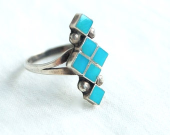 Native American Turquoise Ring Size 5 Vintage Dishta Style Modern Geometric Southwestern Jewelry