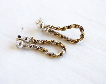 Braided Silver and Brass Hoop Earrings Vintage Mixed Metal Chain Hoops Everyday Jewelry