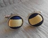 Vintage Fabric Cufflinks. Navy Blue & Yellow. Wedding, Men's Gift, Dad, Groomsmen Gift. Michigan Wolverine
