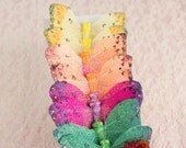 Rainbow Sparkle Shimmer Feather Butterflies / 12 Monarch Bird Feather Glitter Butterflies 3 Inch Wings/ More Colors Available