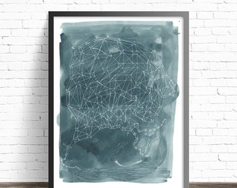 Abstract painting print. Gouache Painting Print poster. Indigo art illustration. Night sky painting. Fine art painting. Art for bathroom