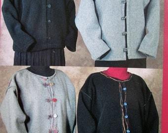 Blanket Jacket sewing pattern short jacket polar fleece felted boiled wool unlined collar trim women small medium large Indygo Junction