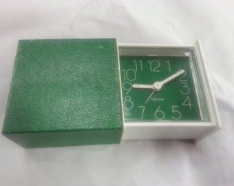 Bulova Alarm Clock, Sliding Box, Travel Clock, Vintage, Green and White (B0035)