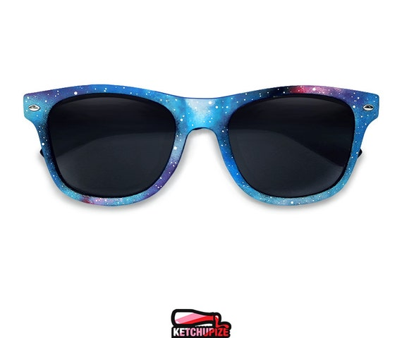 Galaxy hand painted sunglasses - Nebula Space Cosmic Custom Wayfarer style glasses blue purple