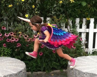 "Rainbow UNICORN COSTUME Set ""Reverse Rainbow"", Costume Wings and Horn // Baby, Toddler & Child sizes!"