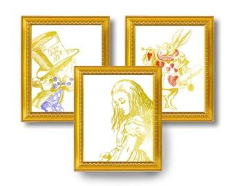 Alice in Wonderland The White Rabbit The Mad Hatter Gold Golden Art Print Set Lewis Carroll Nursery Metallic