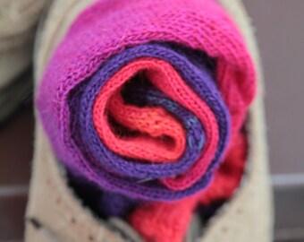 KNITTED wool socks - Hand Made -Red and Purple MERINO yarn winter socks Hipster MENS socks. Large size. super thin dress socks men stockings